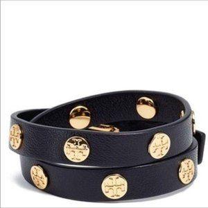 NWT Tory Burch Golden Logo Studs Leather Bracelet